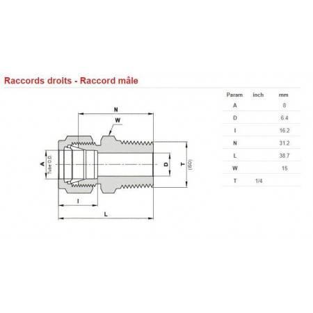 Raccord mâle INOX 450bars G1/4 pour tube de 8mm
